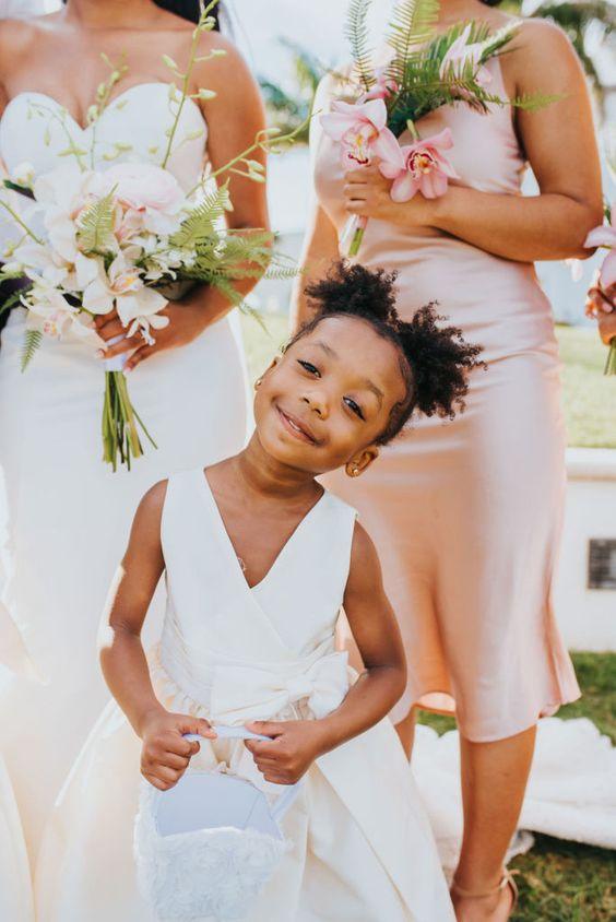 girl smiling at wedding